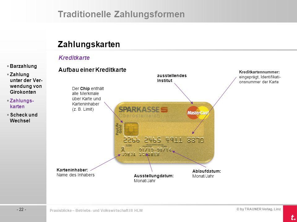 © by TRAUNER Verlag, Linz - 22 - Praxisblicke – Betriebs- und Volkswirtschaft I/II HLW Traditionelle Zahlungsformen Zahlungskarten  Barzahlung  Zahl