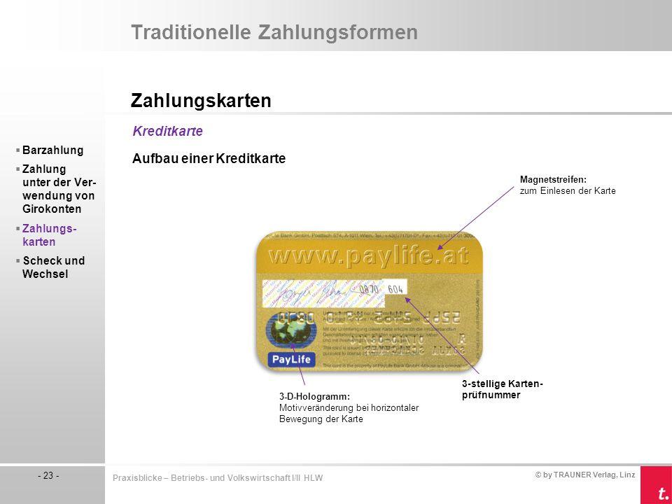 © by TRAUNER Verlag, Linz - 23 - Praxisblicke – Betriebs- und Volkswirtschaft I/II HLW Traditionelle Zahlungsformen Zahlungskarten  Barzahlung  Zahl