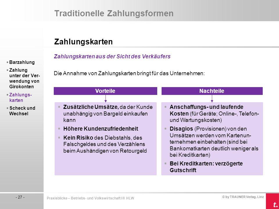 © by TRAUNER Verlag, Linz - 27 - Praxisblicke – Betriebs- und Volkswirtschaft I/II HLW Traditionelle Zahlungsformen Zahlungskarten  Barzahlung  Zahl