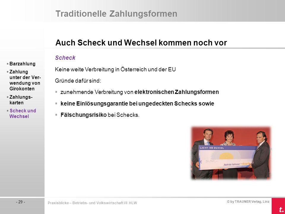 © by TRAUNER Verlag, Linz - 29 - Praxisblicke – Betriebs- und Volkswirtschaft I/II HLW Traditionelle Zahlungsformen Auch Scheck und Wechsel kommen noc