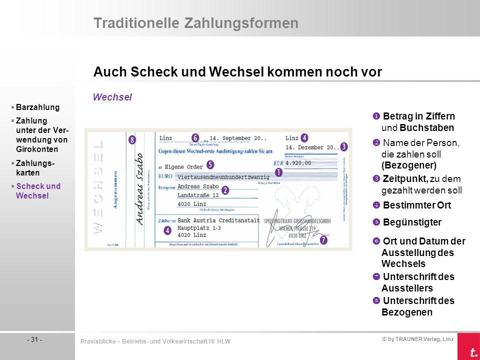 © by TRAUNER Verlag, Linz - 31 - Praxisblicke – Betriebs- und Volkswirtschaft I/II HLW Traditionelle Zahlungsformen Auch Scheck und Wechsel kommen noc