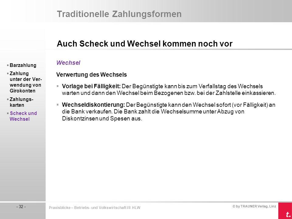 © by TRAUNER Verlag, Linz - 32 - Praxisblicke – Betriebs- und Volkswirtschaft I/II HLW Traditionelle Zahlungsformen Auch Scheck und Wechsel kommen noc