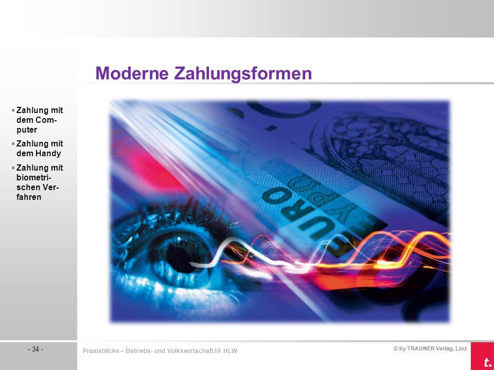 © by TRAUNER Verlag, Linz - 34 - Praxisblicke – Betriebs- und Volkswirtschaft I/II HLW Moderne Zahlungsformen  Zahlung mit dem Com- puter  Zahlung m