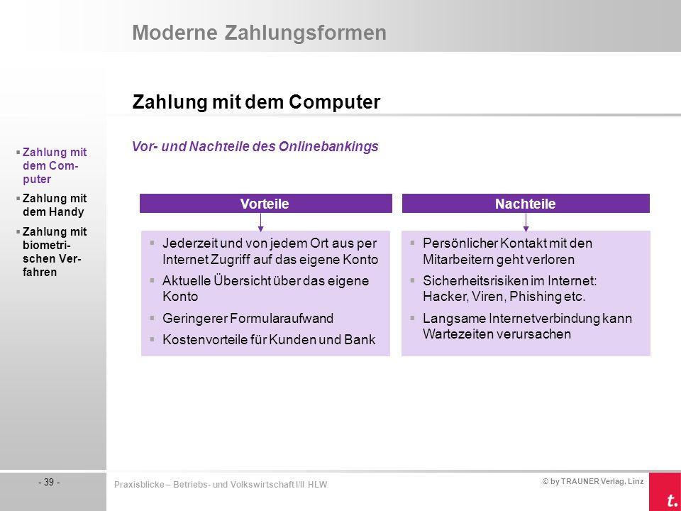 © by TRAUNER Verlag, Linz - 39 - Praxisblicke – Betriebs- und Volkswirtschaft I/II HLW Moderne Zahlungsformen Zahlung mit dem Computer  Zahlung mit d