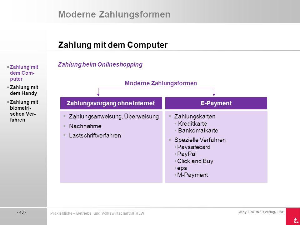 © by TRAUNER Verlag, Linz - 40 - Praxisblicke – Betriebs- und Volkswirtschaft I/II HLW Moderne Zahlungsformen Zahlung mit dem Computer  Zahlung mit d