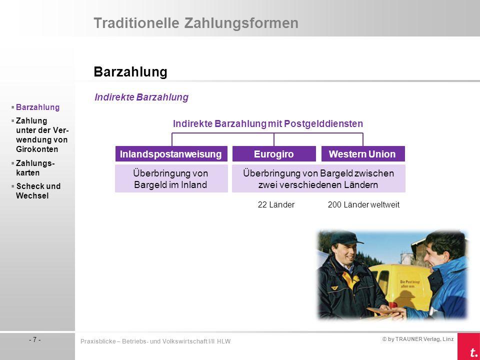 © by TRAUNER Verlag, Linz - 7 - Praxisblicke – Betriebs- und Volkswirtschaft I/II HLW Traditionelle Zahlungsformen Barzahlung  Barzahlung  Zahlung u