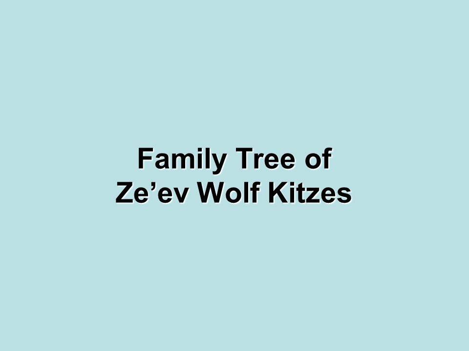 Family Tree of Ze'ev Wolf Kitzes