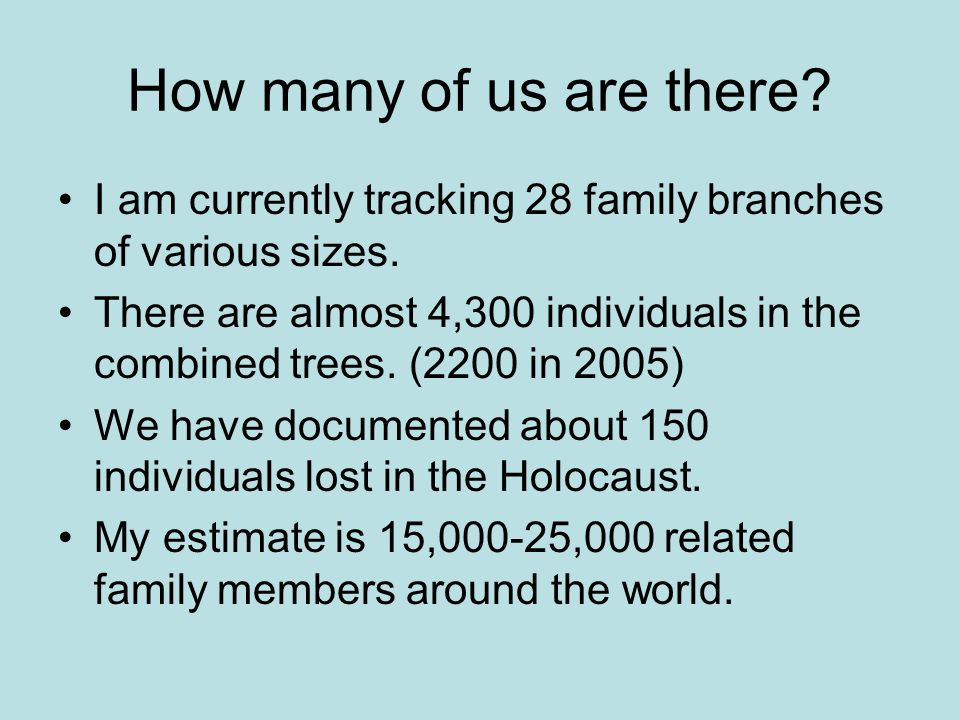How many of us are there? I am currently tracking 28 family branches of various sizes. There are almost 4,300 individuals in the combined trees. (2200