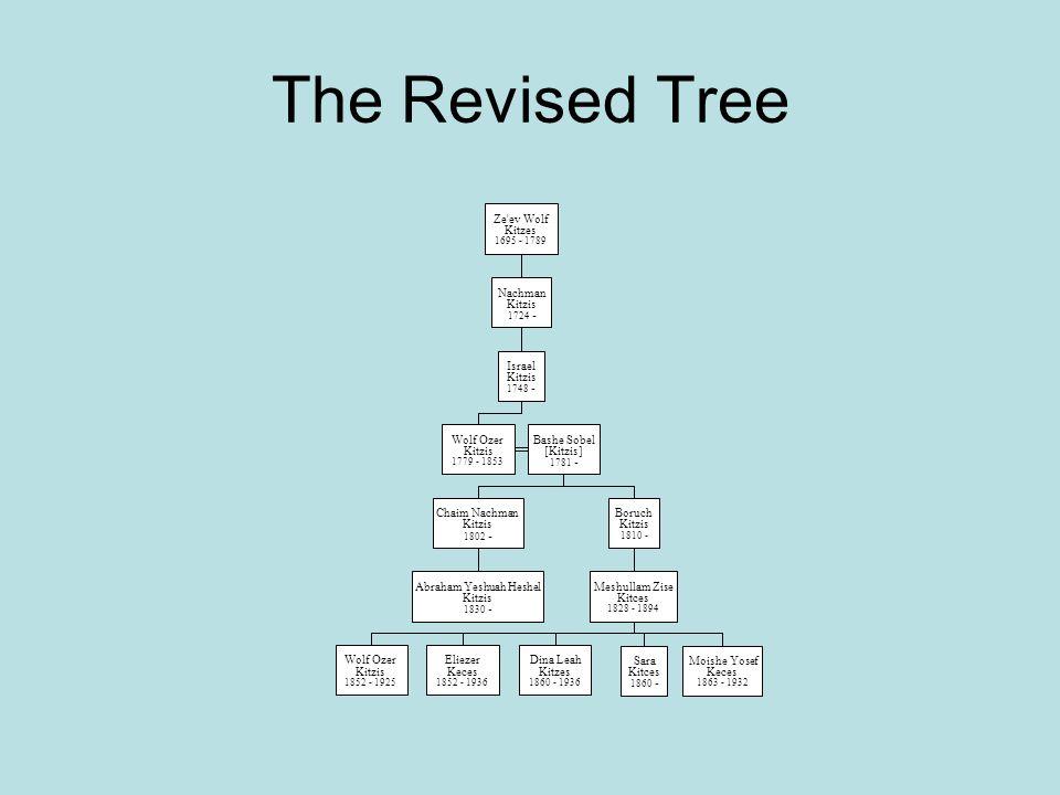 The Revised Tree Ze'ev Wolf Kitzes 1695 - 1789 Nachman Kitzis 1724 - Israel Kitzis 1748 - Wolf Ozer Kitzis 1779 - 1853 Bashe Sobel [Kitzis] 1781 - Cha