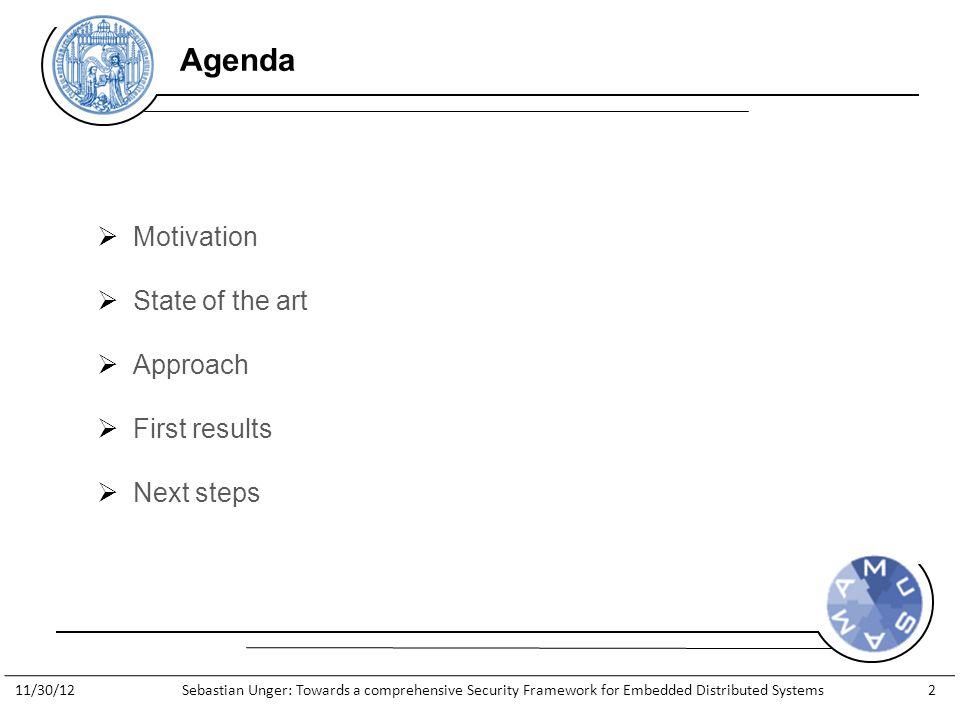 http://www.general-anzeiger- bonn.de/bonn/bonn/suedstadt/Streit- Apple-gegen-Apfelkind-geht-weiter- article913066.html  Motivation  State of the art  Approach  First results  Next steps Agenda 11/30/12Sebastian Unger: Towards a comprehensive Security Framework for Embedded Distributed Systems2