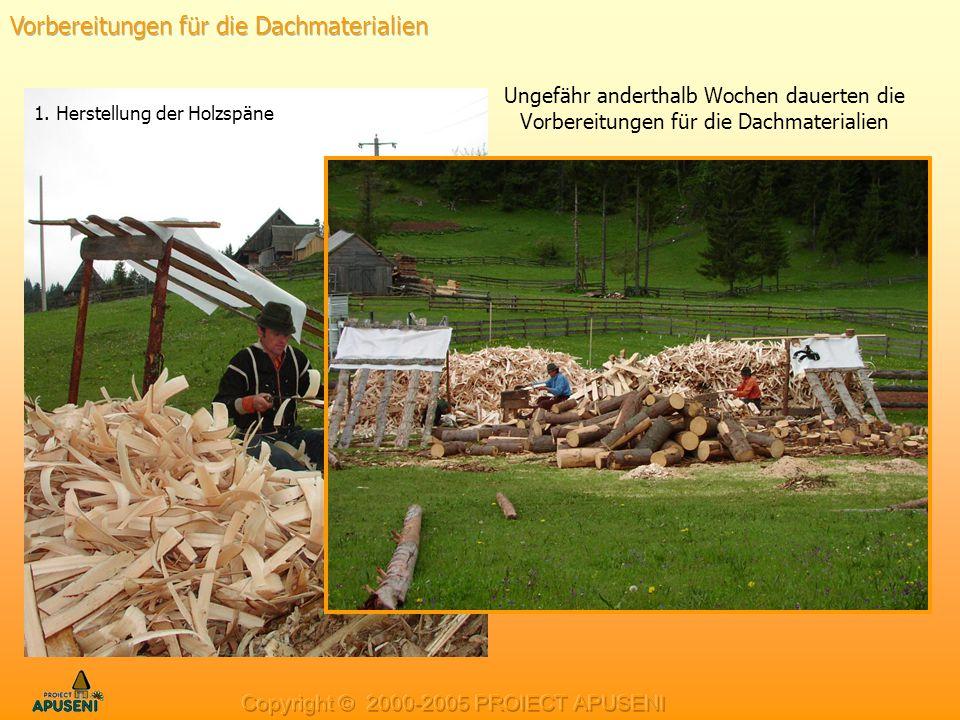 Ungefähr anderthalb Wochen dauerten die Vorbereitungen für die Dachmaterialien 1. Herstellung der Holzspäne