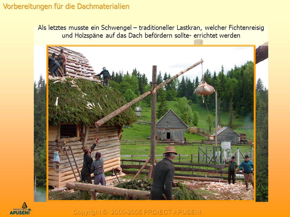 Als letztes musste ein Schwengel – traditioneller Lastkran, welcher Fichtenreisig und Holzspäne auf das Dach befördern sollte- errichtet werden
