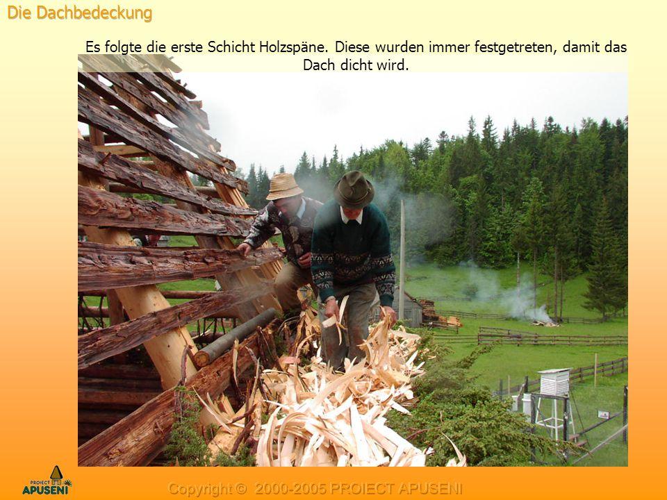 Es folgte die erste Schicht Holzspäne. Diese wurden immer festgetreten, damit das Dach dicht wird.
