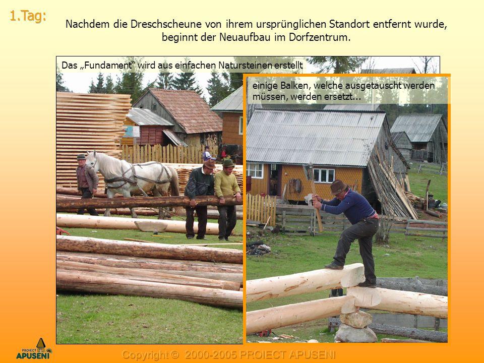 """Nachdem die Dreschscheune von ihrem ursprünglichen Standort entfernt wurde, beginnt der Neuaufbau im Dorfzentrum. Das """"Fundament"""" wird aus einfachen N"""