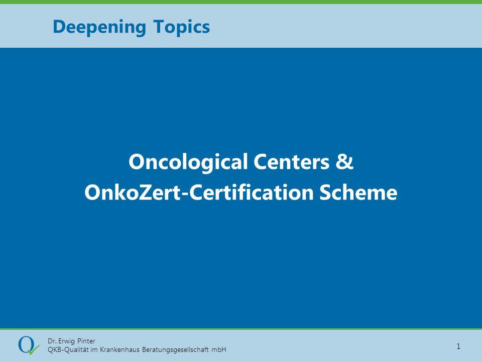 Dr. Erwig Pinter QKB-Qualität im Krankenhaus Beratungsgesellschaft mbH 1 Oncological Centers & OnkoZert-Certification Scheme Deepening Topics