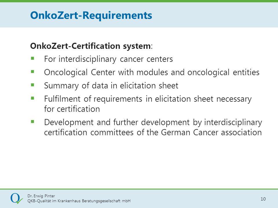 Dr. Erwig Pinter QKB-Qualität im Krankenhaus Beratungsgesellschaft mbH 10 OnkoZert-Certification system:  For interdisciplinary cancer centers  Onco