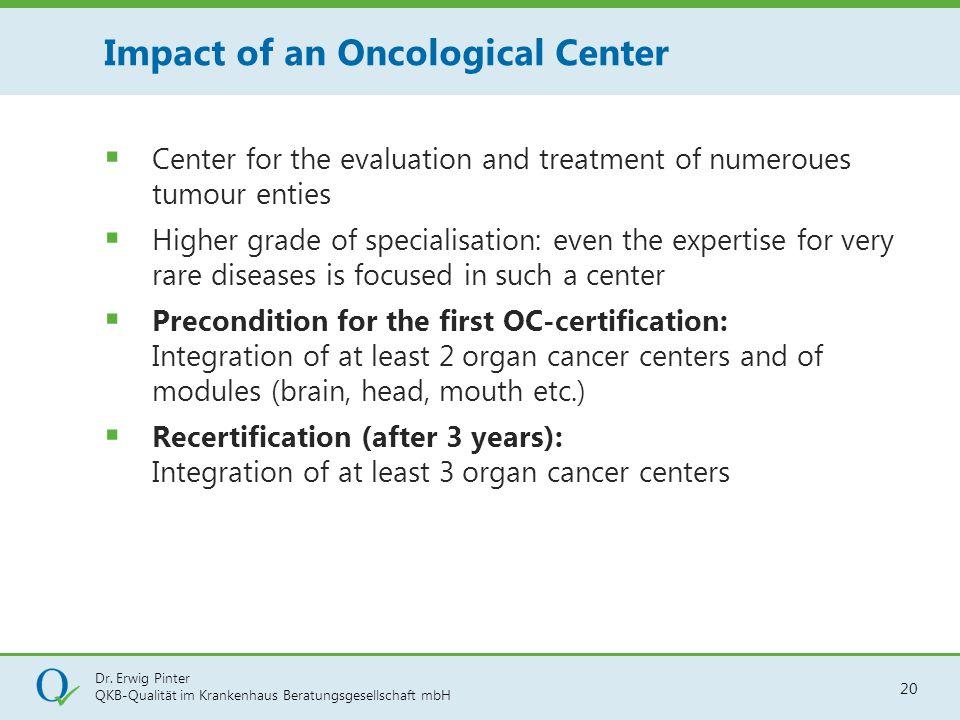 Dr. Erwig Pinter QKB-Qualität im Krankenhaus Beratungsgesellschaft mbH 20  Center for the evaluation and treatment of numeroues tumour enties  Highe