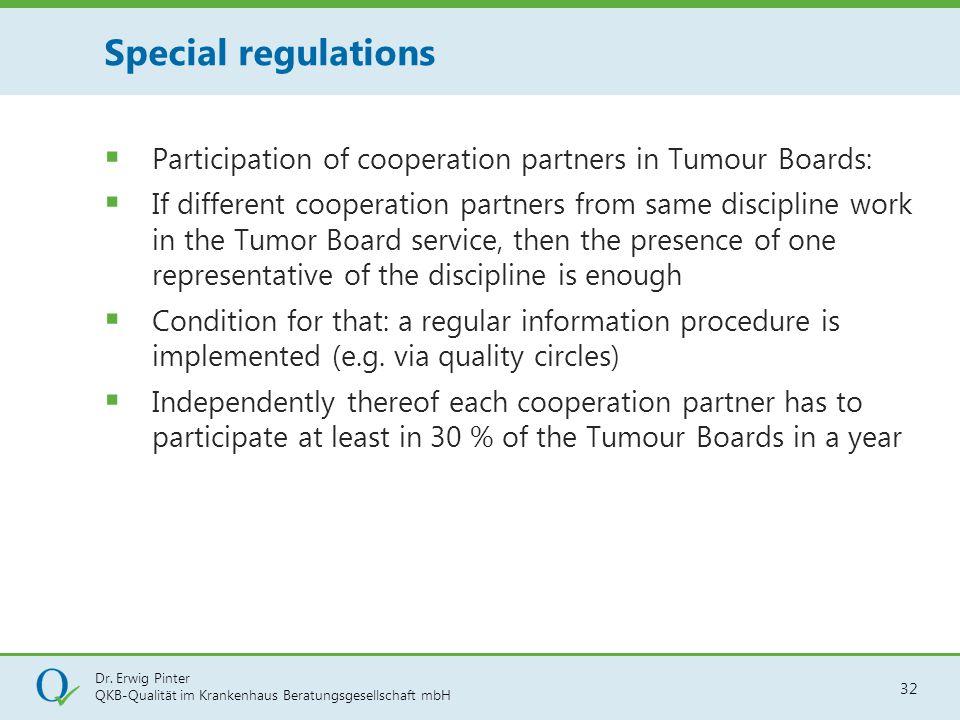 Dr. Erwig Pinter QKB-Qualität im Krankenhaus Beratungsgesellschaft mbH 32  Participation of cooperation partners in Tumour Boards:  If different coo