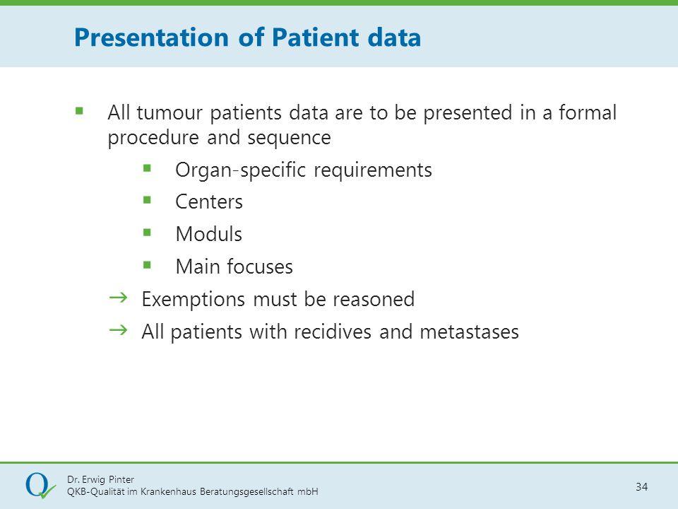 Dr. Erwig Pinter QKB-Qualität im Krankenhaus Beratungsgesellschaft mbH 34  All tumour patients data are to be presented in a formal procedure and seq
