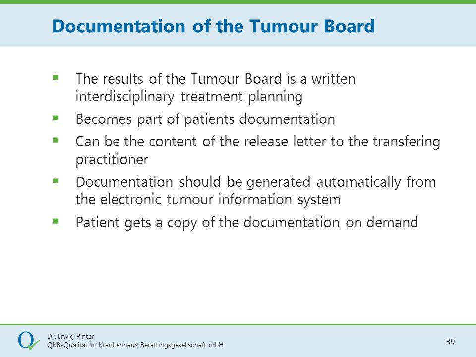 Dr. Erwig Pinter QKB-Qualität im Krankenhaus Beratungsgesellschaft mbH 39  The results of the Tumour Board is a written interdisciplinary treatment p
