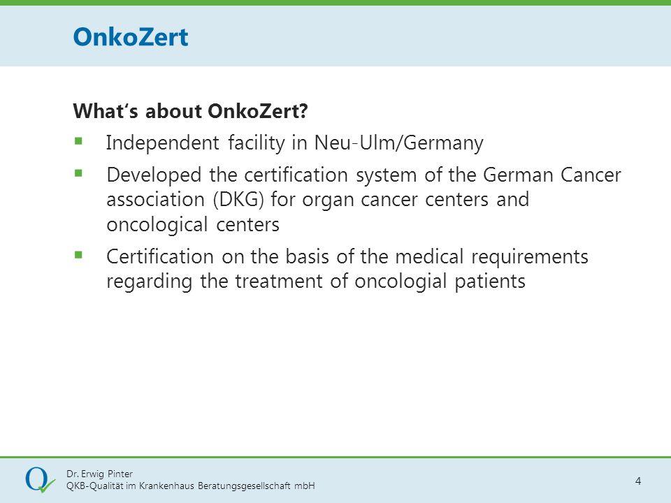 Dr. Erwig Pinter QKB-Qualität im Krankenhaus Beratungsgesellschaft mbH 4 What's about OnkoZert?  Independent facility in Neu-Ulm/Germany  Developed
