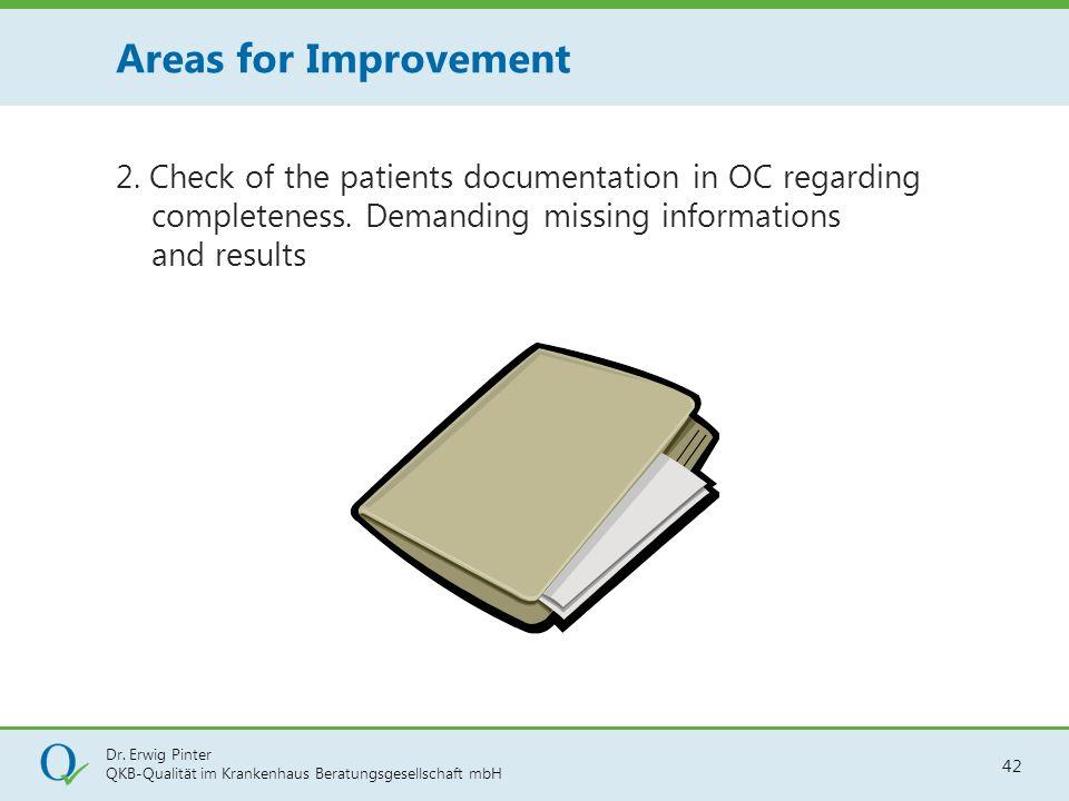 Dr. Erwig Pinter QKB-Qualität im Krankenhaus Beratungsgesellschaft mbH 42 2. Check of the patients documentation in OC regarding completeness. Demandi