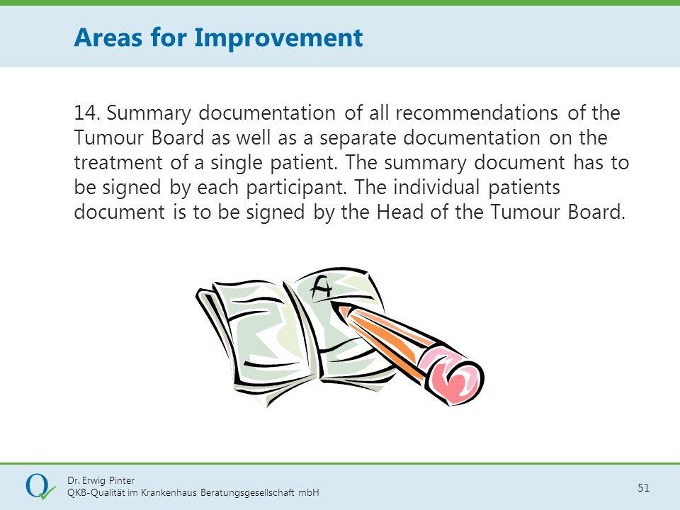 Dr. Erwig Pinter QKB-Qualität im Krankenhaus Beratungsgesellschaft mbH 51 14. Summary documentation of all recommendations of the Tumour Board as well