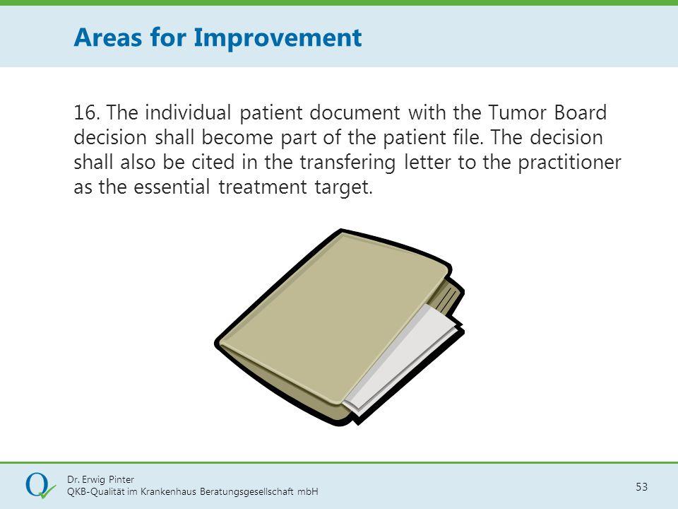 Dr. Erwig Pinter QKB-Qualität im Krankenhaus Beratungsgesellschaft mbH 53 16. The individual patient document with the Tumor Board decision shall beco
