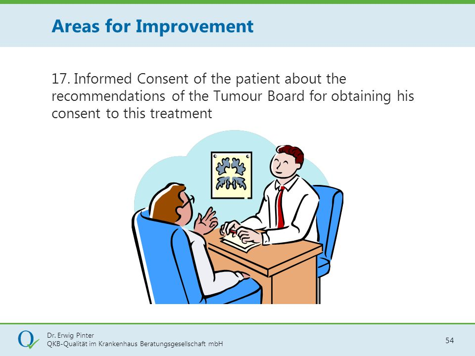 Dr. Erwig Pinter QKB-Qualität im Krankenhaus Beratungsgesellschaft mbH 54 17. Informed Consent of the patient about the recommendations of the Tumour