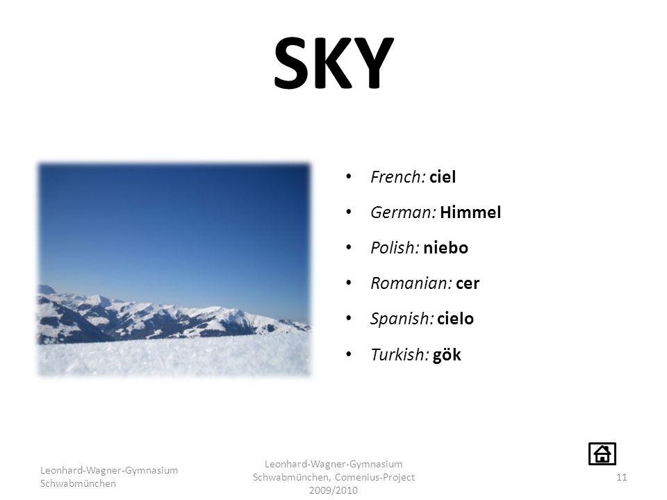 SKY French: ciel German: Himmel Polish: niebo Romanian: cer Spanish: cielo Turkish: gök Leonhard-Wagner-Gymnasium Schwabmünchen Leonhard-Wagner-Gymnas