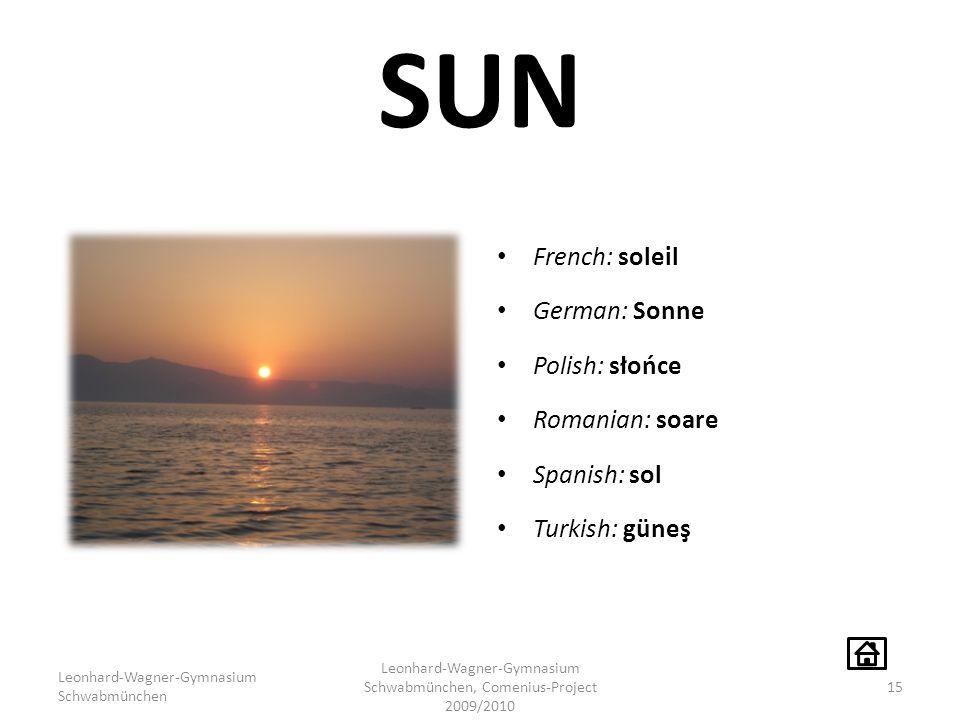 SUN French: soleil German: Sonne Polish: słońce Romanian: soare Spanish: sol Turkish: güneş Leonhard-Wagner-Gymnasium Schwabmünchen Leonhard-Wagner-Gy