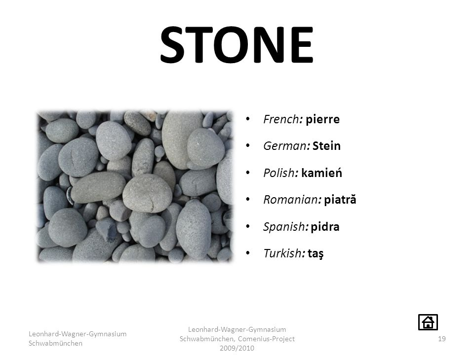 STONE French: pierre German: Stein Polish: kamień Romanian: piatr ă Spanish: pidra Turkish: taş Leonhard-Wagner-Gymnasium Schwabmünchen Leonhard-Wagne