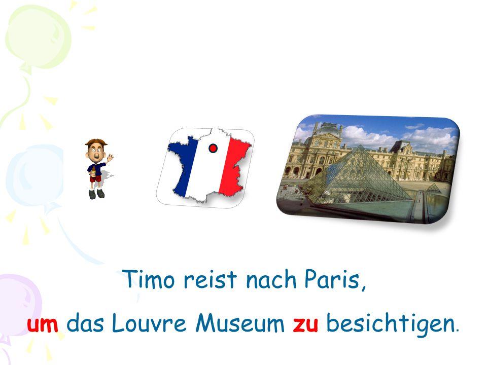 Timo reist nach Paris, um das Louvre Museum zu besichtigen.