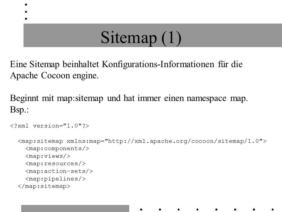 Sitemap (1) Eine Sitemap beinhaltet Konfigurations-Informationen für die Apache Cocoon engine.