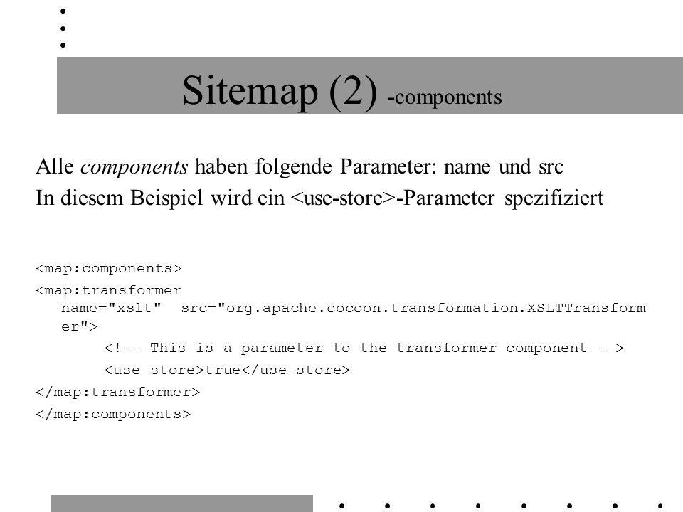 Sitemap (2) -components Alle components haben folgende Parameter: name und src In diesem Beispiel wird ein -Parameter spezifiziert true