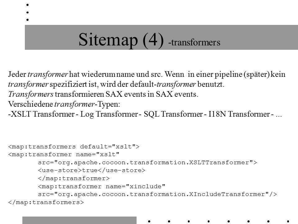 Sitemap (4) -transformers Jeder transformer hat wiederum name und src.