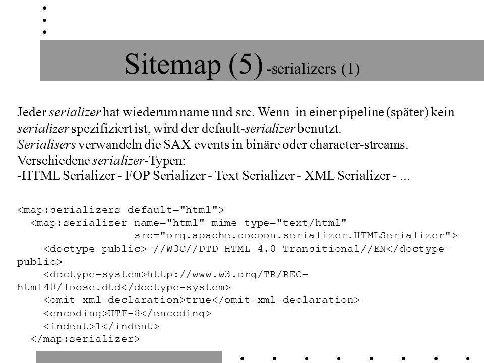 Sitemap (5) -serializers (1) Jeder serializer hat wiederum name und src.