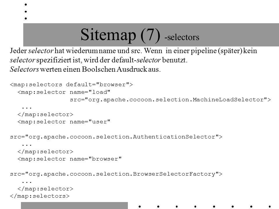 Sitemap (7) -selectors Jeder selector hat wiederum name und src. Wenn in einer pipeline (später) kein selector spezifiziert ist, wird der default-sele