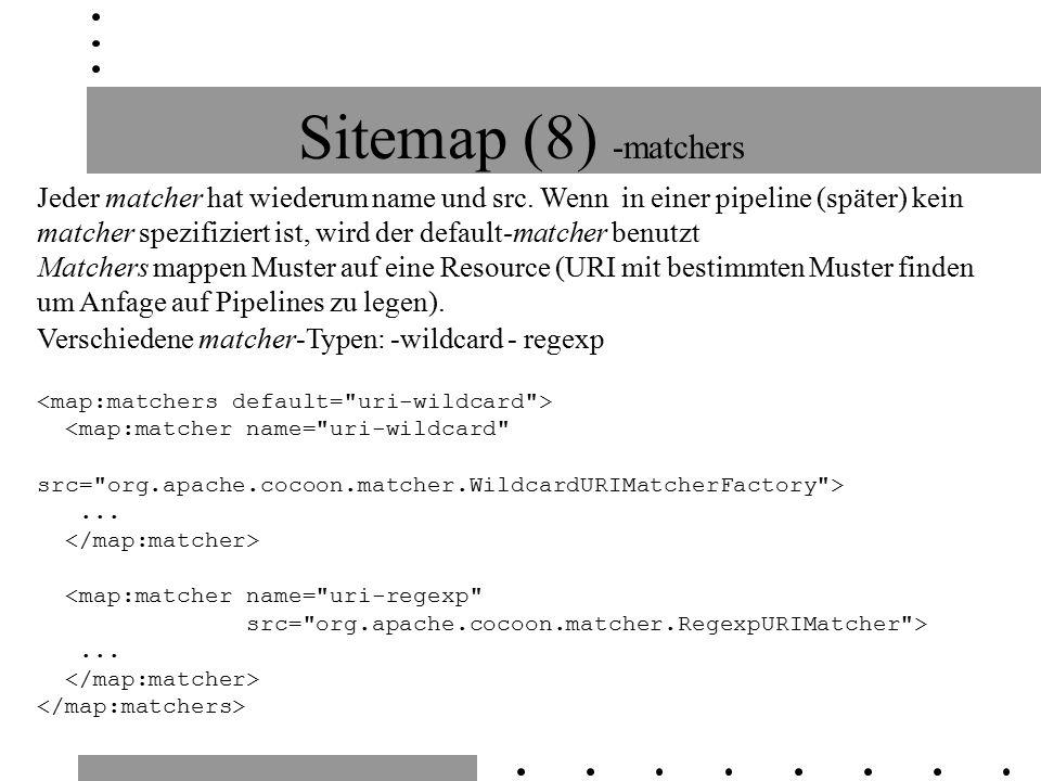 Sitemap (8) -matchers Jeder matcher hat wiederum name und src.