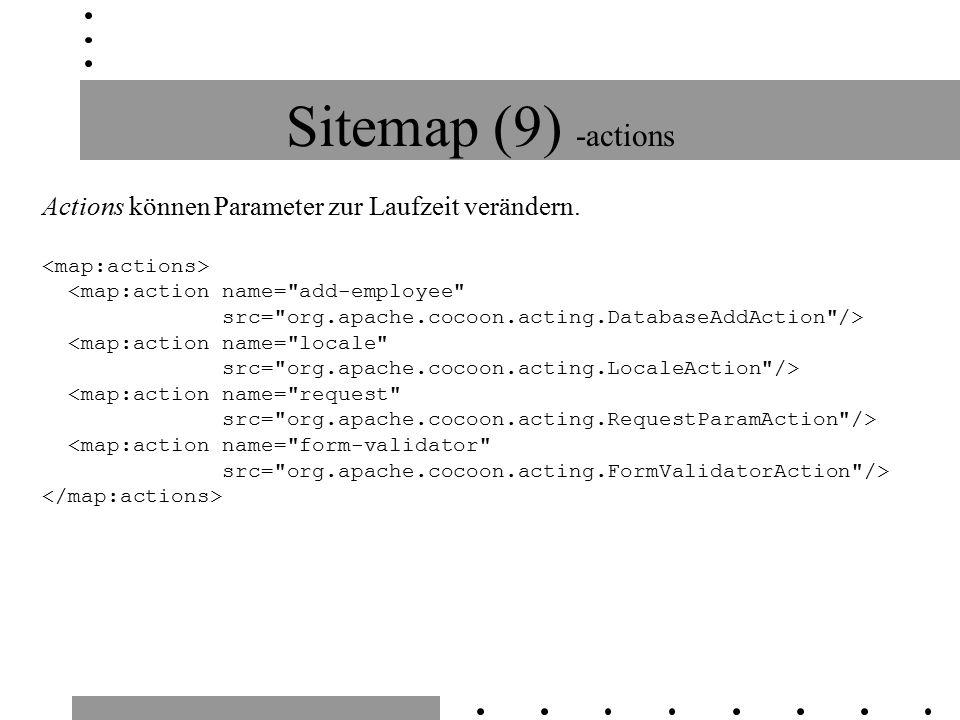 Sitemap (9) -actions Actions können Parameter zur Laufzeit verändern.