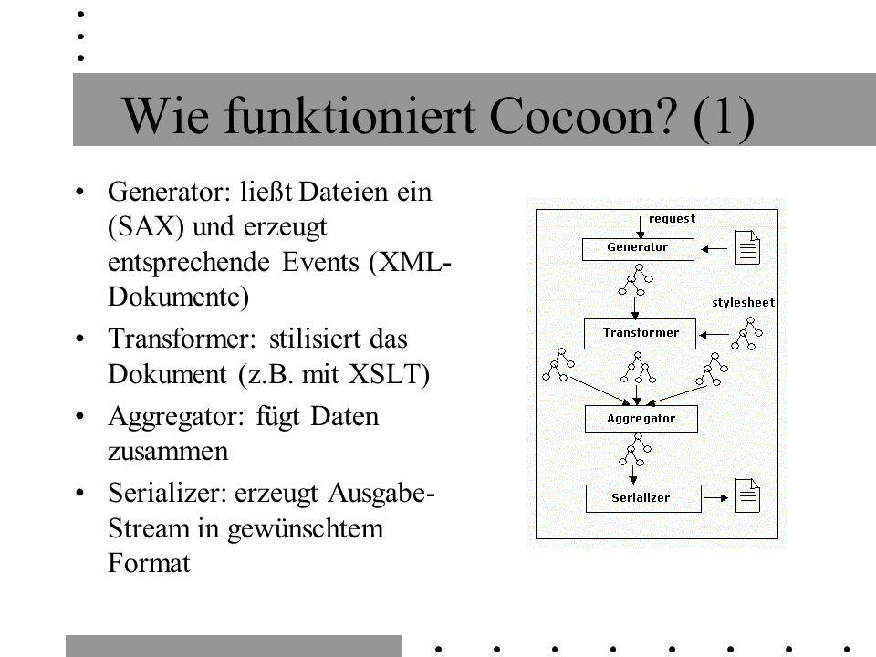 Wie funktioniert Cocoon? (1) Generator: ließt Dateien ein (SAX) und erzeugt entsprechende Events (XML- Dokumente) Transformer: stilisiert das Dokument