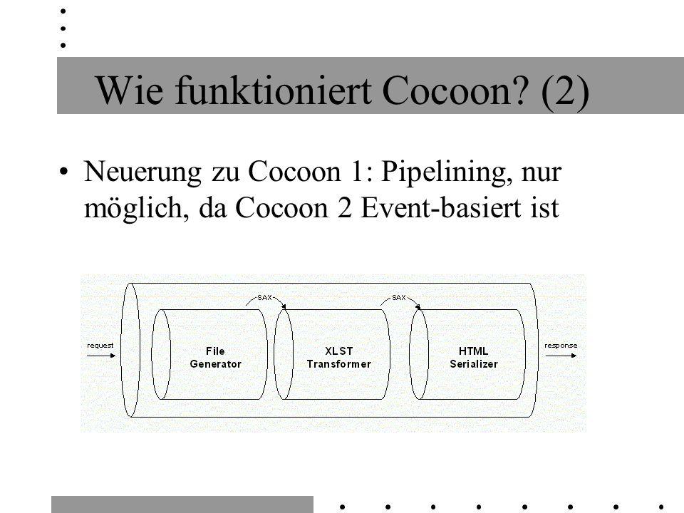 Wie funktioniert Cocoon? (2) Neuerung zu Cocoon 1: Pipelining, nur möglich, da Cocoon 2 Event-basiert ist