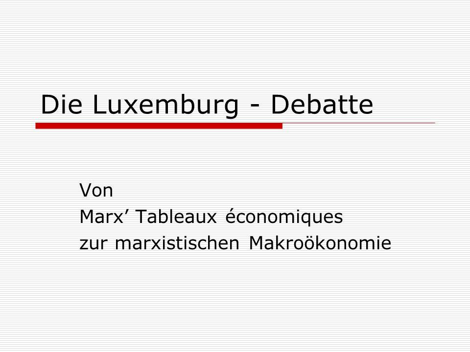 Die Luxemburg - Debatte Von Marx' Tableaux économiques zur marxistischen Makroökonomie