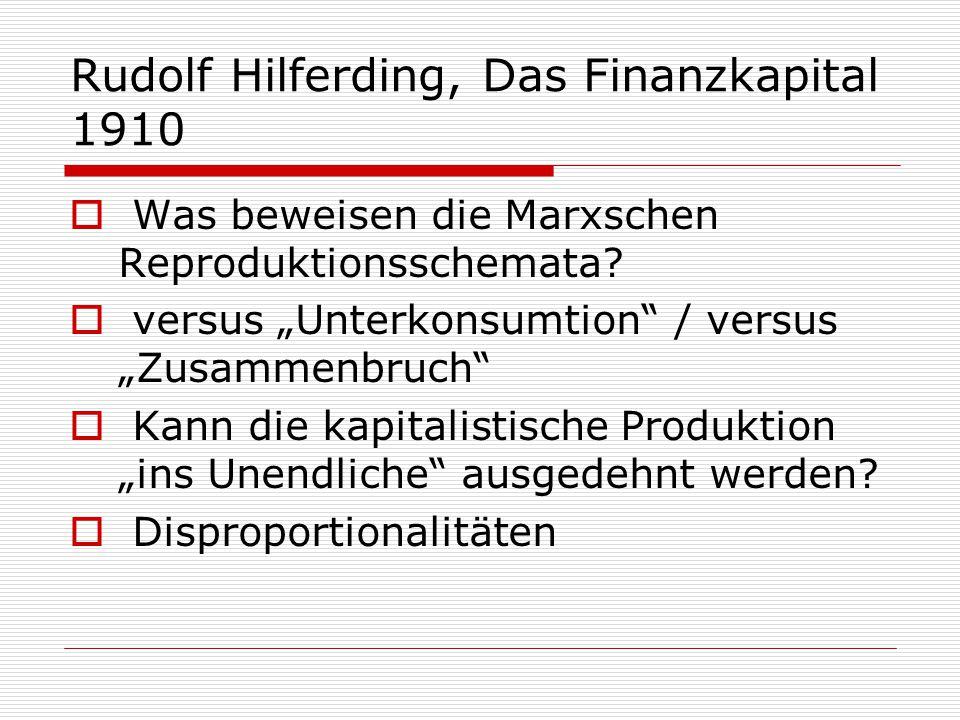 """Rudolf Hilferding, Das Finanzkapital 1910  Was beweisen die Marxschen Reproduktionsschemata?  versus """"Unterkonsumtion"""" / versus """"Zusammenbruch""""  Ka"""