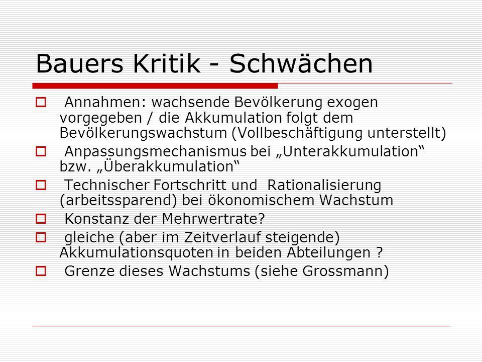 Bauers Kritik - Schwächen  Annahmen: wachsende Bevölkerung exogen vorgegeben / die Akkumulation folgt dem Bevölkerungswachstum (Vollbeschäftigung unt