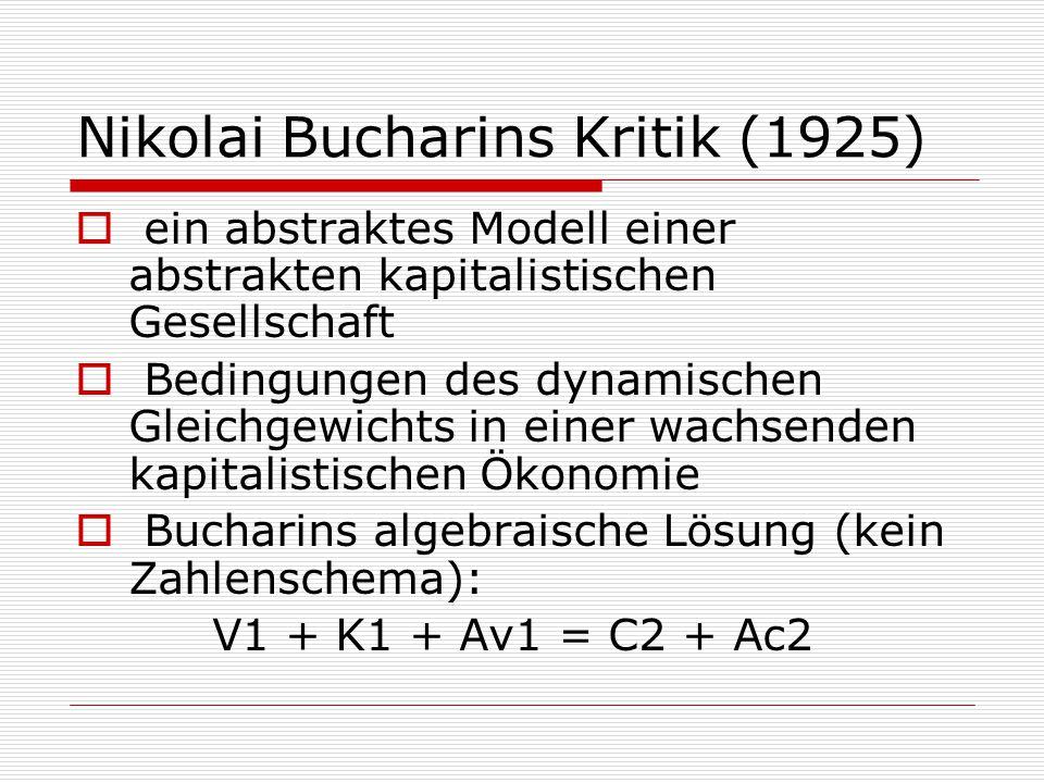 Nikolai Bucharins Kritik (1925)  ein abstraktes Modell einer abstrakten kapitalistischen Gesellschaft  Bedingungen des dynamischen Gleichgewichts in