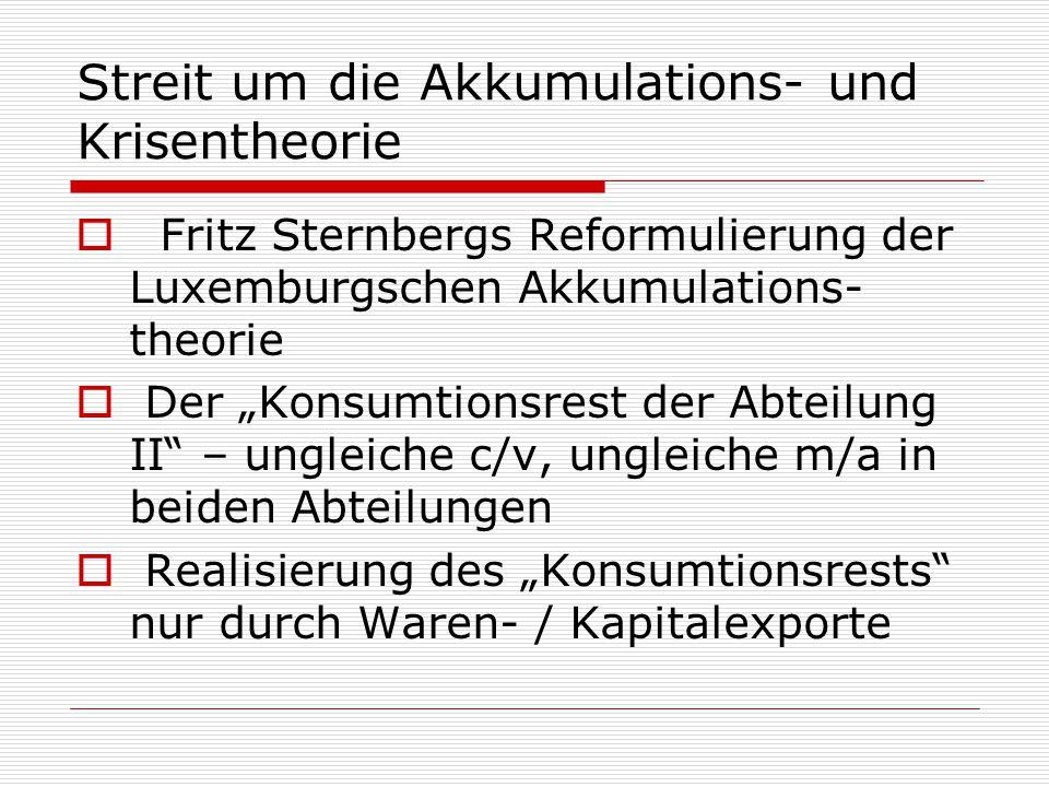 """Streit um die Akkumulations- und Krisentheorie  Fritz Sternbergs Reformulierung der Luxemburgschen Akkumulations- theorie  Der """"Konsumtionsrest der"""