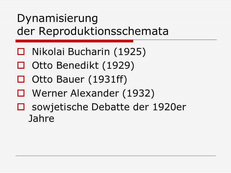Dynamisierung der Reproduktionsschemata  Nikolai Bucharin (1925)  Otto Benedikt (1929)  Otto Bauer (1931ff)  Werner Alexander (1932)  sowjetische