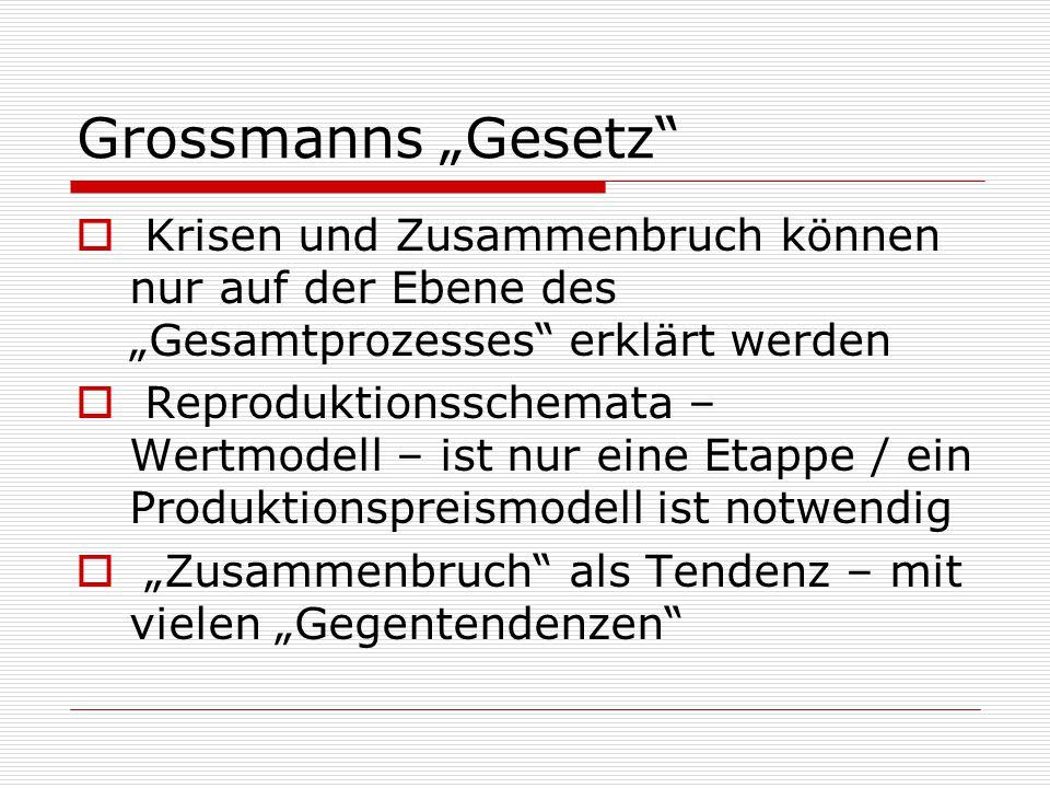 """Grossmanns """"Gesetz""""  Krisen und Zusammenbruch können nur auf der Ebene des """"Gesamtprozesses"""" erklärt werden  Reproduktionsschemata – Wertmodell – is"""