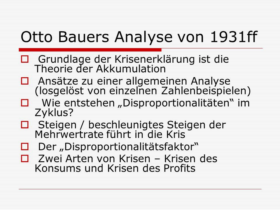 Otto Bauers Analyse von 1931ff  Grundlage der Krisenerklärung ist die Theorie der Akkumulation  Ansätze zu einer allgemeinen Analyse (losgelöst von